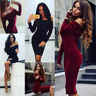 New Women Long Sleeve Jumper Tops Knitted Sweater Bodycon Party Tunic Mini Dress