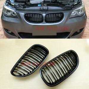 M STYLE HIGH SHINY BLACK BMW E60/E61 5-Series 4Dr FRONT GRILLS GRILLE KIDNEY