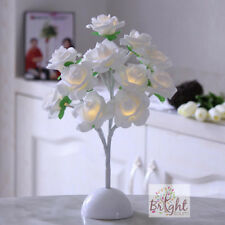 Artificial White Rose Flower 12 LED White Round Base Wedding Event Party Gift