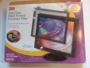 "3M ANTI-GLARE BLACK FRAMED COMPUTER FILTER MODEL EX10L 15"" LCD 14-17"" CRT"