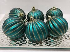Christmas Peacock Teal Green Gold Glitter Tree Ornaments Decor Set of 6