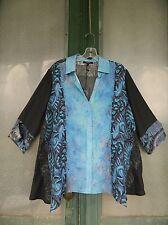 Dressori 3/4 Sleeve Tunic Blouse -S- Dark Navy Blue Abstract & Floral Silk NWT