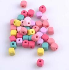 100pcs Mixed Color Wooden Cube Spacer Beads For Jewelry Making DIY 10mm