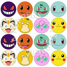 16x EDIBLE Pokemon Faces Birthday Cupcake Toppers Wafer Paper 4cm (uncut)