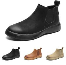 Retro Mens Winter Work Chelsea Boots Shoes Slip on Fur Lined Pumps Polish Casual