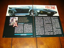 1990 VECTOR SUPER CAR JERRY WIEGERT  ***ORIGINAL ARTICLE***
