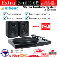 mbeat Pro-M Bluetooth Stereo Turntable Record Player Music Vinyl System Black