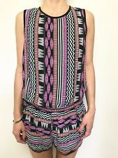 Seafolly Silk Sleeveless Tribal Insp Print Short Romper Playsuit Sz Med