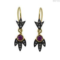 Gemstone Ruby Dangle Earrings .925 Sterling Silver Pave Diamond Designer Jewelry