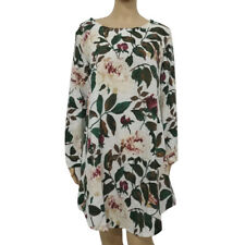 UK 8-24 Women Rolled Up Long Sleeve Floral Printed Tunic Tops T Shirt Mini Dress