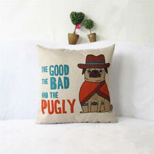 Pug Design Cushion Cover - The Good The Bad and the Pugly - 45cm x 45cm