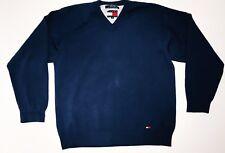 Tommy Hilfiger Men's Sweater Size XL V Neck Blue Box Logo 100% Cotton