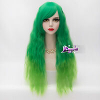 60CM Mixed Green Lolita Curly Long Hair Women Anime Ombre Cosplay Wig + Cap