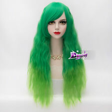 60CM Mixed Green Lolita Curly Long Hair Women Ombre Party Cosplay Wig + Cap