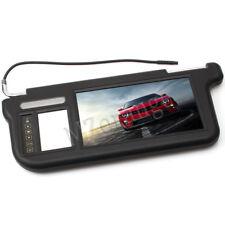 "Left Side 7"" TFT LCD Car Sun Visor Monitors DVD Display Rearview Mirror Black AU"
