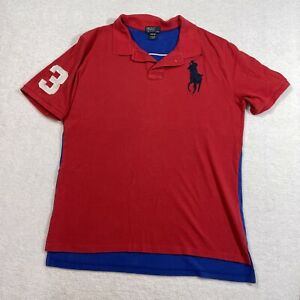 Ralph Lauren Big Pony Polo Shirt Youth XL 18 - 20 Blue Red White #3 Short Sleeve