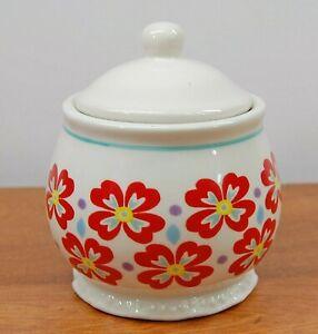Pioneer Woman Stoneware Flea Market Retro Floral Red Daisy Lidded Sugar Bowl