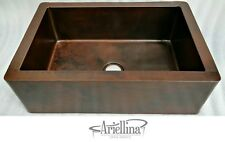 Ariellina Farmhouse Smooth Copper Kitchen Sink Lifetime Warranty New AC1818