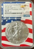 2021 (S) Emergency Silver Eagle NGC MS 70 Flag Core First Day of Release