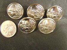 "Silver Indiana State Uniform Jacket Metal Buttons Set of 5 New 7/8"" Waterbury"