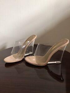Glass Heel Wedge Sandal