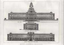 1908 London County Hall Competition Russell Cooper Elevations