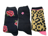 Kate Spade 3 pair boxed gift set of crew sock floral solid cheetah  size 9-11
