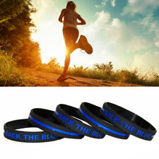 5 Excellent Quality Thin Blue Line Silicone Wristband Back The Blue Bracelet Usa