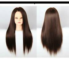 Hairdressing Training Mannequin Head Model Human brown Hair with Clamp Holder