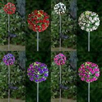 Artificial Coloured Rose Solar Powered Light Outdoor Garden Decor Pathway Peg