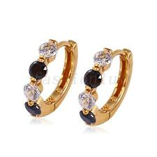 fashion1uk Huggie Hoop Earrings Black & Clear Simulated Diamonds 18K Gold Plated