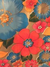 Oil Cloth END OF ROLL 48x54 Save! ISLAND FLOWER GOLD - Fabric Yardage Tablecloth