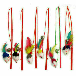 Faux Mouse Feather Dangle Fun Play Toy Rod Teaser Bell Kitten Kit T5D0 T3S3 H1E6