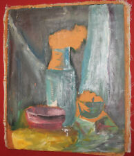 Vintage expressionist oil painting still life with bowls and vase