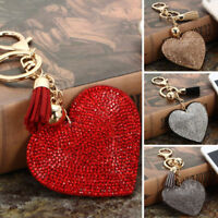 Heart Crystal Rhinestone Handbag Charm Pendant Keychain Bag Keyring KeyChain New