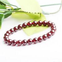 Mode Reine Natürliche Granat Armband Schmuck Edelstein Runde Perlen Armban G3D