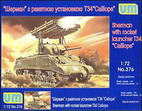 """Unimodel 376 - 1/72 Rocket Launcher M4A3 with T34 """"Calliope"""" WWII Plastic UM 376"""