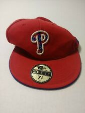 New Era MLB Philadelphia Phillies Red Fitted Hat Cap Size 7 3/8