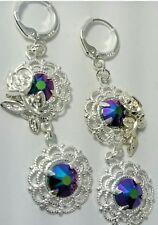 Artisan with Swarovski crystals scarabaeus silver drop earrings