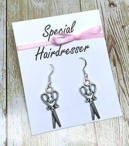 Special Hairdresser Stylist Earrings Scissors Thank You Gift S925 Silver Hooks
