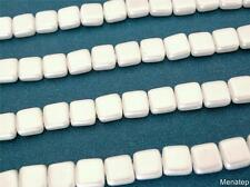 25 6x6x3mm CzechMates Two Hole Tile Beads: Pearl Coat - Snow White