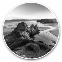2 x Vinyl Stickers 10cm (bw) - Three Cliffs Gower Peninsula Wales  #37291
