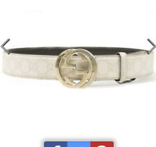 Gucci Guccissima Monogram Logo Double Interlocking G Belt Ivory