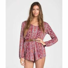 617965255164 BILLABONG women See the sun Romper Size S Small long sleeve viscose red  blue 73