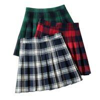 Ladies Check Plaid Pleated Mini Skirt Scotland Scottish Tartan Kilt Skater Sweet