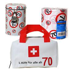 Geschenkset Erste Hilfe Tasche + Toilettenpapier + Spardose 70. Geburtstag 70