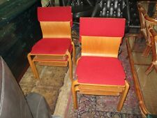 Vintage Bentwood Chairs Red With Cushions Storage Shelves 1960's Lot Of 3