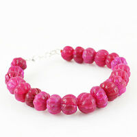 Round Shape 306.00 Cts Earth Mined Red Ruby Carved Real Beads Hand Made Bracelet