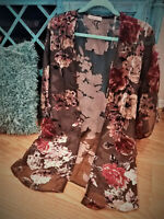 Women's Sheer Black Velvet Floral Kimono Jacket Duster Cardigan Tunic Top MEDIUM