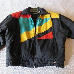Vintage Ski Jacket L Color Block Hong Kong Black Red Yellow Coat Puffer Coat